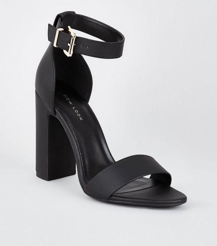 3e0fa6d94f6 Black Square Buckle Block Heel Sandals