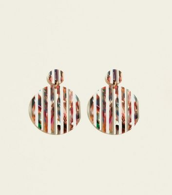 Multicoloured Disc Resin Earrings