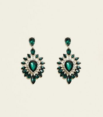 Dark Green Oval Gem Chandelier Earrings