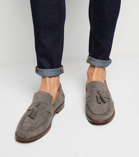 3d6c251973f Grey Suedette Tassel Loafers · Grey Suedette Tassel Loafers ...
