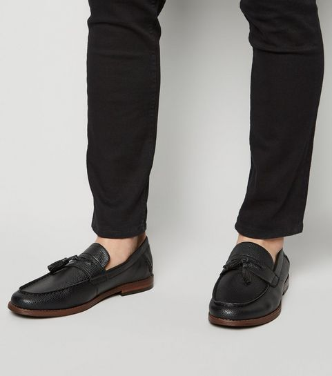 8e145148c1b ... Black Leather-Look Tassel Trim Loafers ...