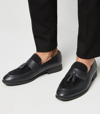 Black Mixed Material Tassel Loafers