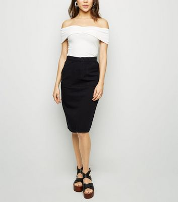 Black High Waist Denim Midi Skirt
