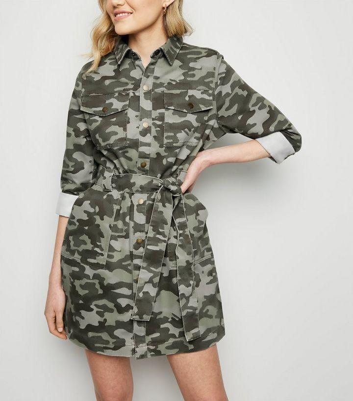 9cc158508b7 Green Camo Denim Utility Shirt Dress