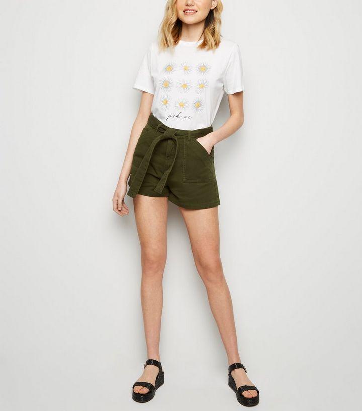 54be4ac70866 Khaki Belted Denim Utility Shorts | New Look