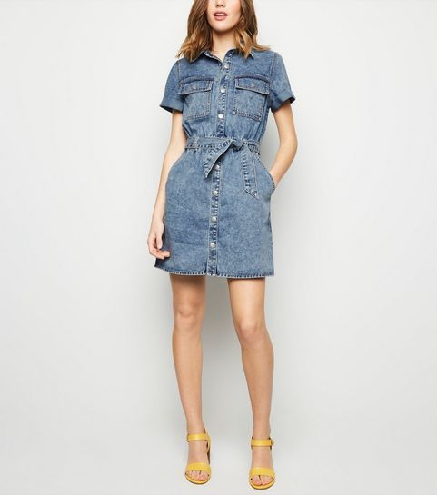 f7477fbab7 ... Pale Blue Acid Wash Utility Shirt Dress ...
