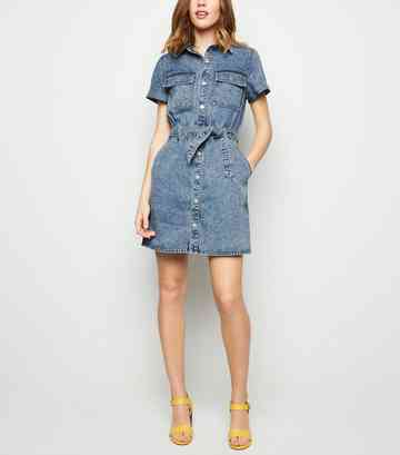dc68698e8f2 Pale Blue Acid Wash Denim Utility Shirt Dress ...