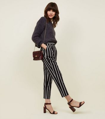 Black Stripe Pull-On Tapered Trousers