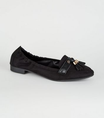 Wide Fit Black Square Toe Tassel Loafers