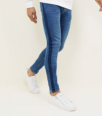 Blue Dyed Side Stripe Skinny Jeans