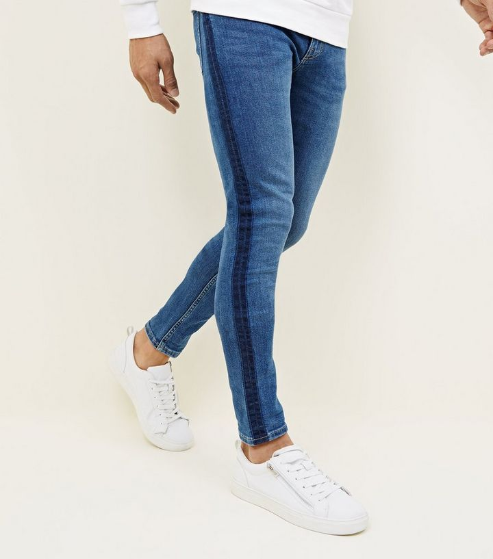 47668b90554c Blue Dyed Side Stripe Skinny Jeans | New Look