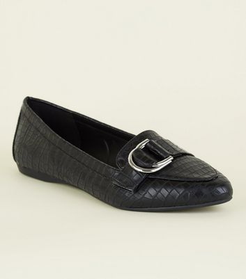 Wide Fit Black Faux Crock D-Ring Loafer