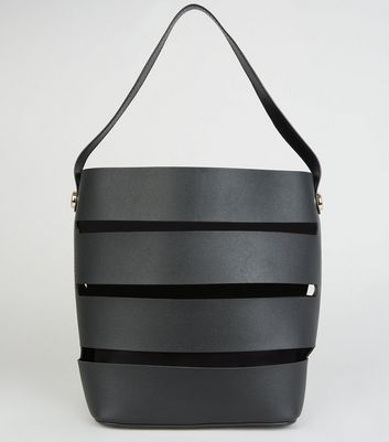 Black Paneled Cut Out Bucket Bag