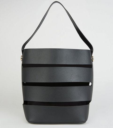 1ecbed70461c ... Black Paneled Cut Out Bucket Bag ...
