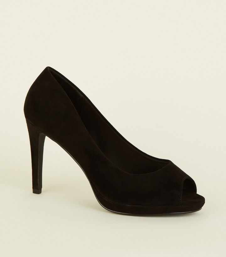 d1faf1f772 Wide Fit Black Suedette Peep Toe Heels | New Look