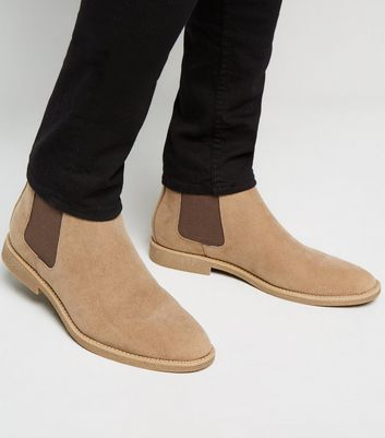 Stone Suedette Chelsea Boots
