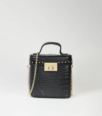 Black Faux Croc Box Shoulder Bag