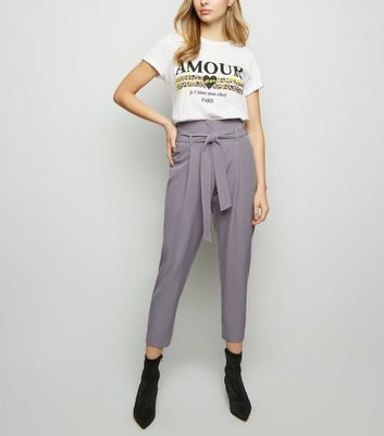 Dark Grey Tie Paperbag Waist Trousers