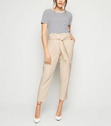 Stone High Waist Paperbag Trousers