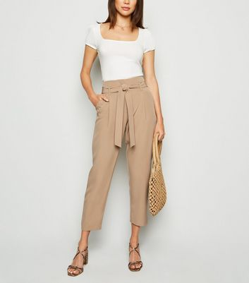 Camel High Waist Paperbag Trousers