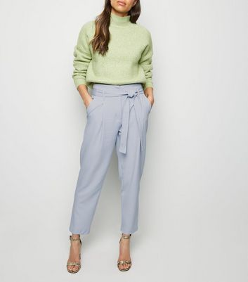 Pale Blue Tie Paperbag Waist Trousers