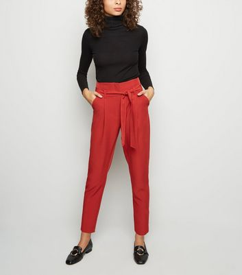 Dark Red Tie Paperbag Waist Trousers