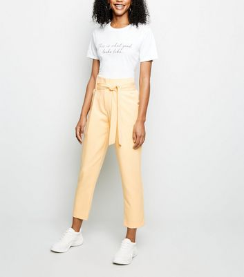 Pale Yellow Tie Paperbag Waist Trousers