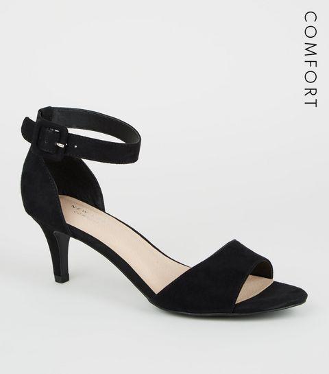 9e730e6007c ... Black Comfort Flex Suedette Kitten Heel Sandals ...