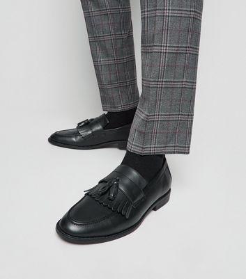 Black Leather-Look Fringe Tassel