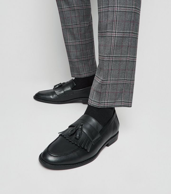77911ed8c06ce Black Leather-Look Fringe Tassel Loafers Add to Saved Items Remove from  Saved Items