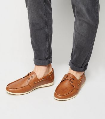 Tan Leather-Look Boat Shoes | New Look
