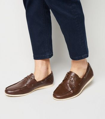 Dark Brown Leather-Look Boat Shoes