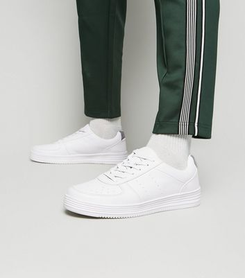 White Leather-Look Perforated Trainers
