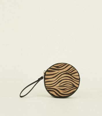 Brown Tiger Print Zip Up Purse