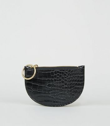 Black Faux Croc Ring Zip Coin Purse