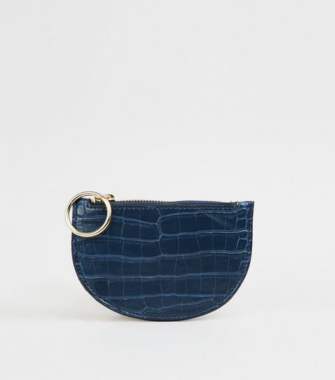 ... Navy Faux Croc Ring Zip Coin Purse ...