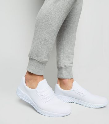 White Woven Mesh Lace Up Trainers