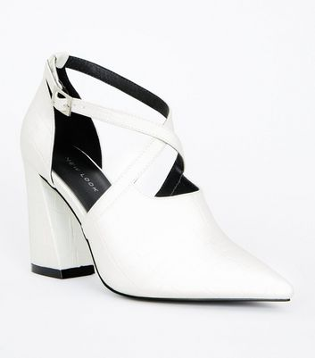 White Faux Croc Flared Heel Shoes