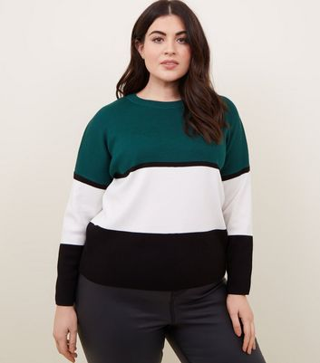 Curves Green Colour Block Jumper