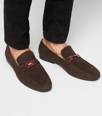 Dark Brown Tape Bar Front Loafers