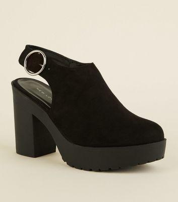 Black Suedette Chunky Slingback Heels