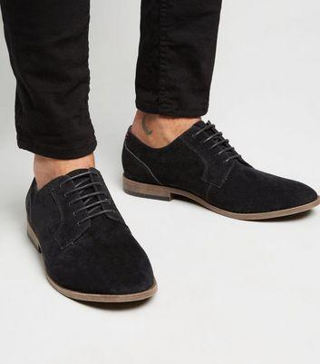 Black Suedette Lace Up Derby Shoes