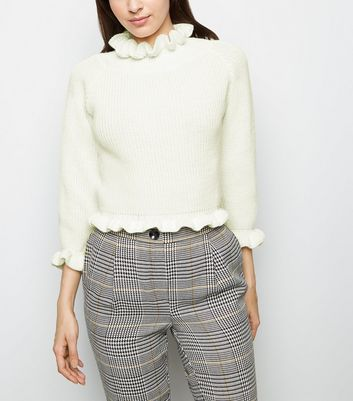 Cameo Rose Cream Frill Trim Cropped Jumper