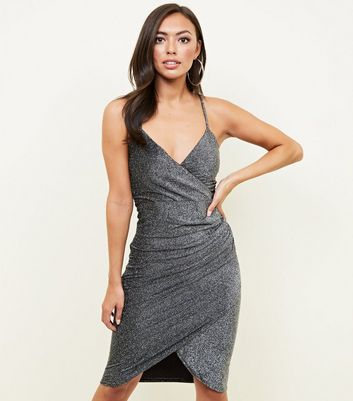 QED Grey Glitter Wrap Bodycon Dress