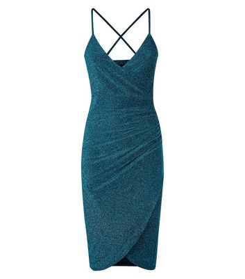 QED Teal Glitter Wrap Bodycon Dress New Look