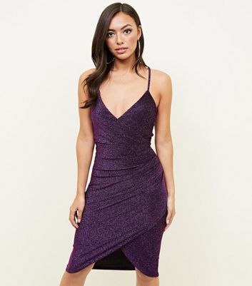QED Dark Purple Glitter Wrap Bodycon Dress