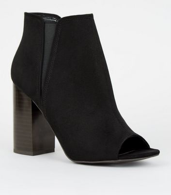 Black Suedette Peep Toe Chelsea Boots by New Look