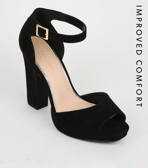 eb49990e40f ... Black Suedette Peep Toe Platform Block Heels ...