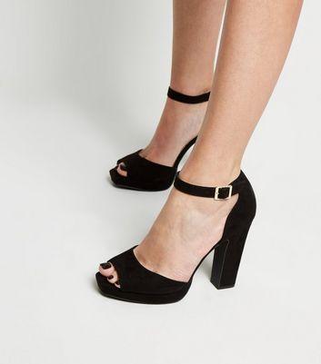 shop for Black Suedette Peep Toe Platform Block Heels New Look Vegan at Shopo