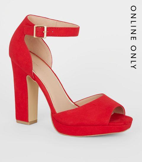 3e21c7f7bdd ... Red Suedette Peep Toe Platform Block Heels ...